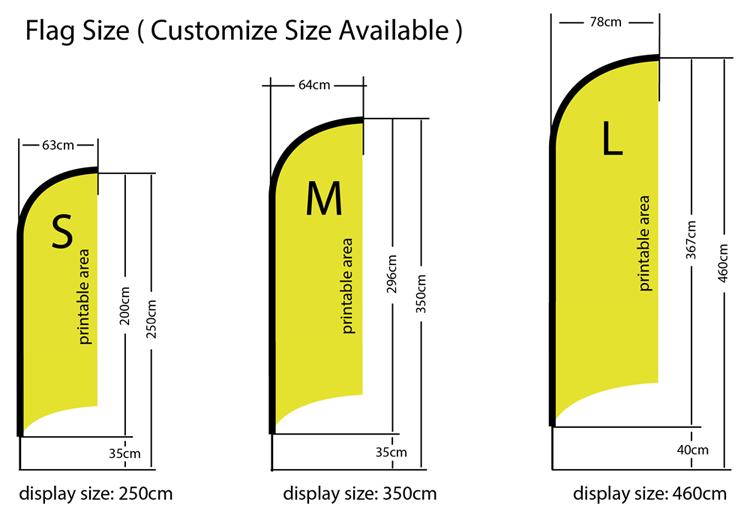 Flying Banner - Shark shape sizes